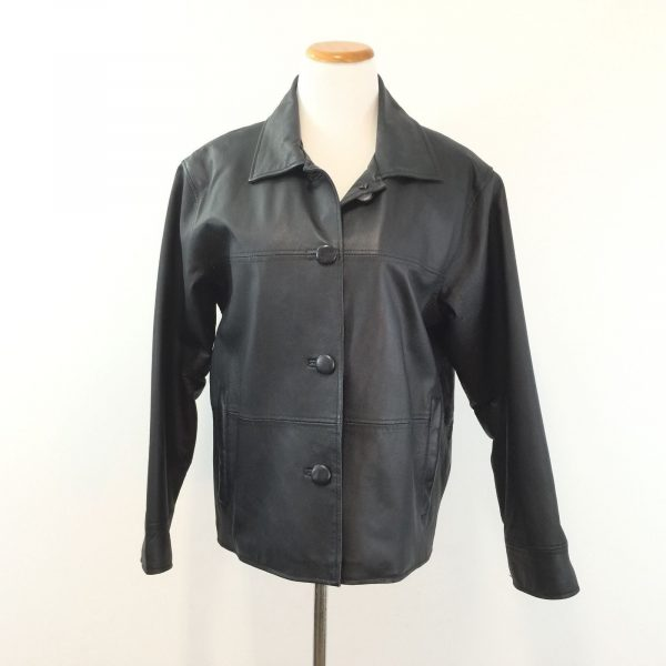 Womens KC Collection Black Leather Blazer Jacket