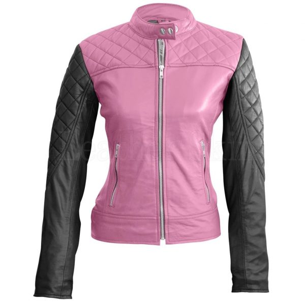 Womens Pink With Black Sleeves Shoulder Quilted Genuine Leather Jacket