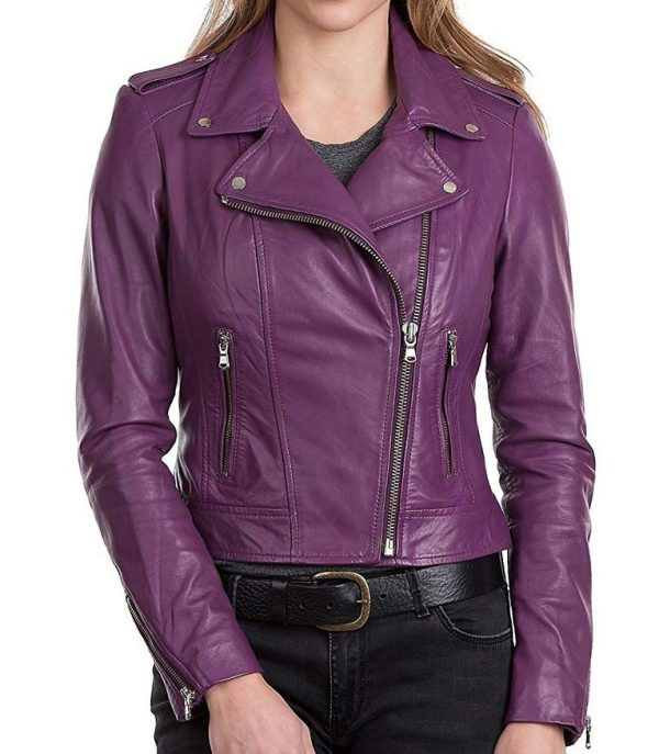 Womens Purple Classic Motorcycle Leather Jacket