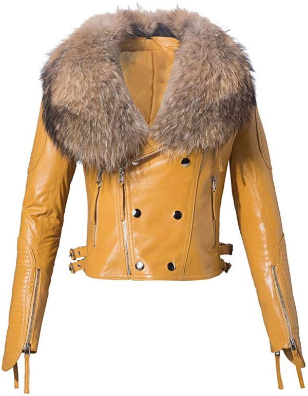 Womens Real Leather Moto Jacket with Big Raccoon Fur Collar
