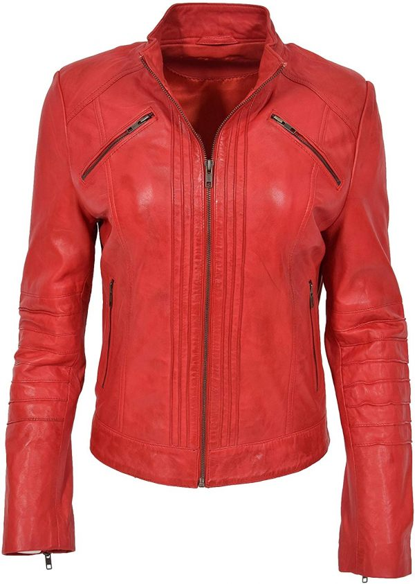 Womens Real Red Biker Style Leather Jacket