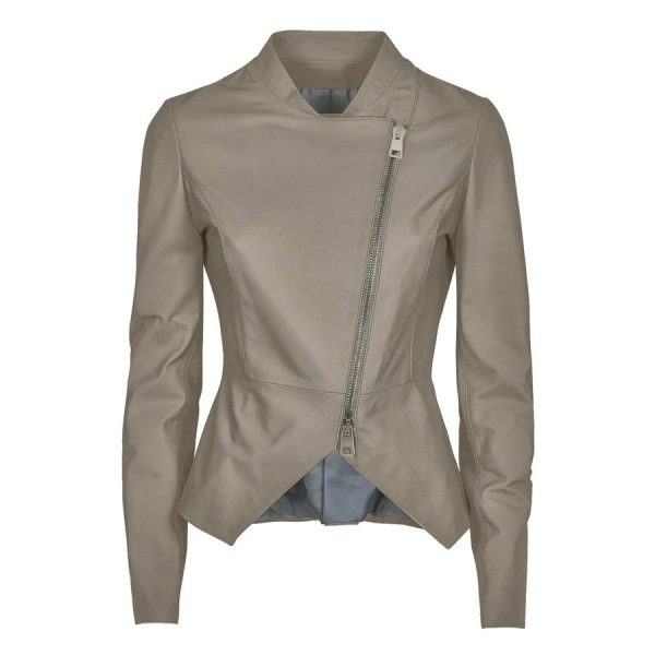 Womens Taupe Leather Jacket