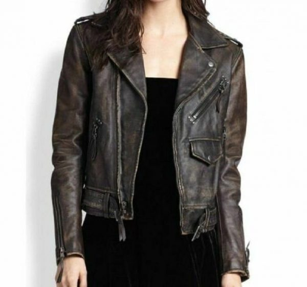 Womens Vintage Distressed Biker Leather Jackets