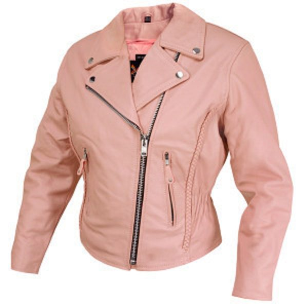 rose pink leather jacket