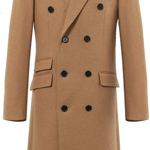 Double Breasted Camel Wool Overcoat