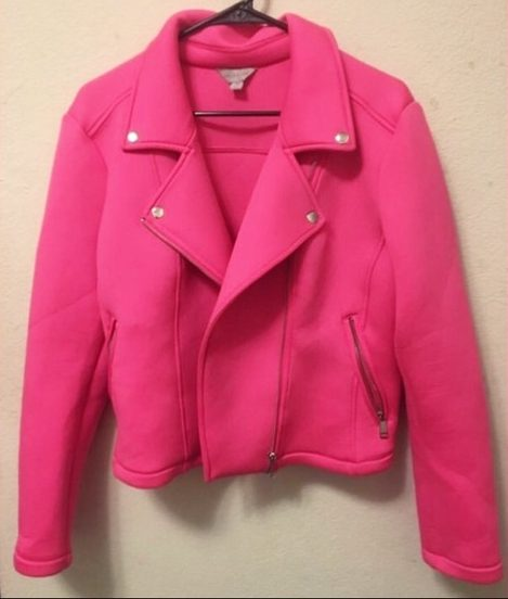 Hot Pink Scuba Fabric Plus Size Moto Jacket