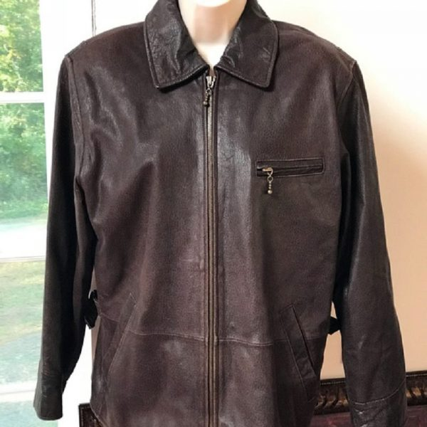 Newport News Easy Style Brown Leather Jacket