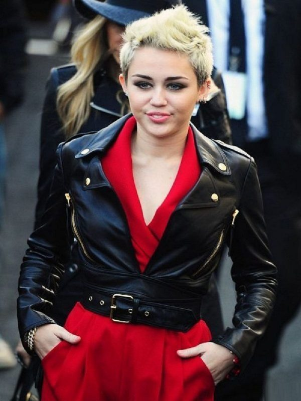 Singer Mileys Cyrus Motorcycle Leather Jacket