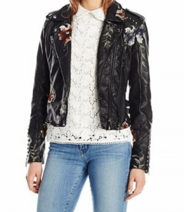 Blanknyc Embroidered Leather Jacket