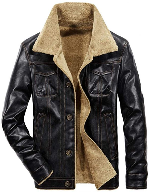 Sherpa Lined Leather Jacket