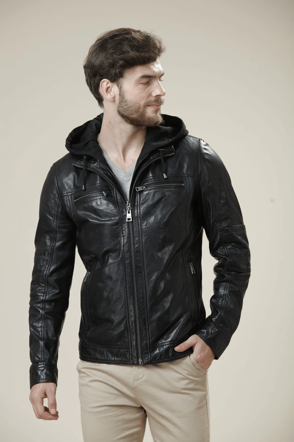 Daniers Hooded Leather Jacket