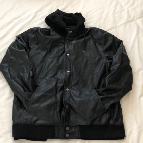Obey Hooded Leather Jacket