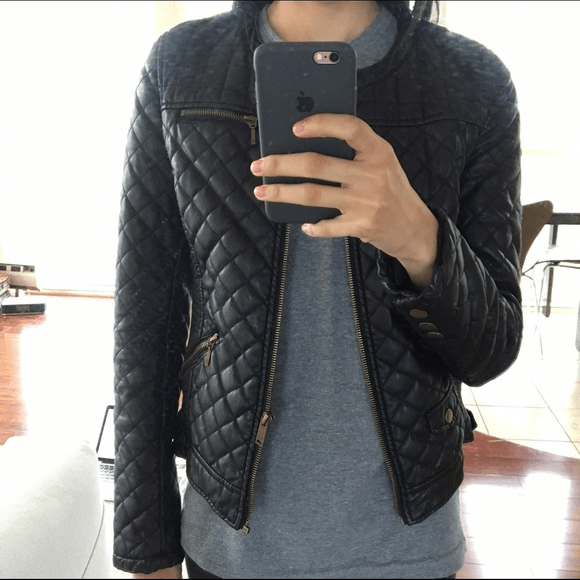 Quilted Faux Leathers Jacket Zara