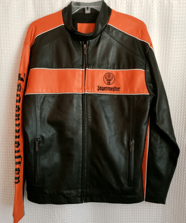 Jagermeister Black And Orange Leather Jacket