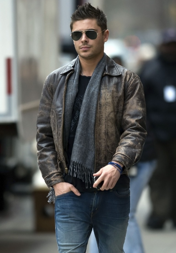 Zac Efron Distressed Leather Jacket