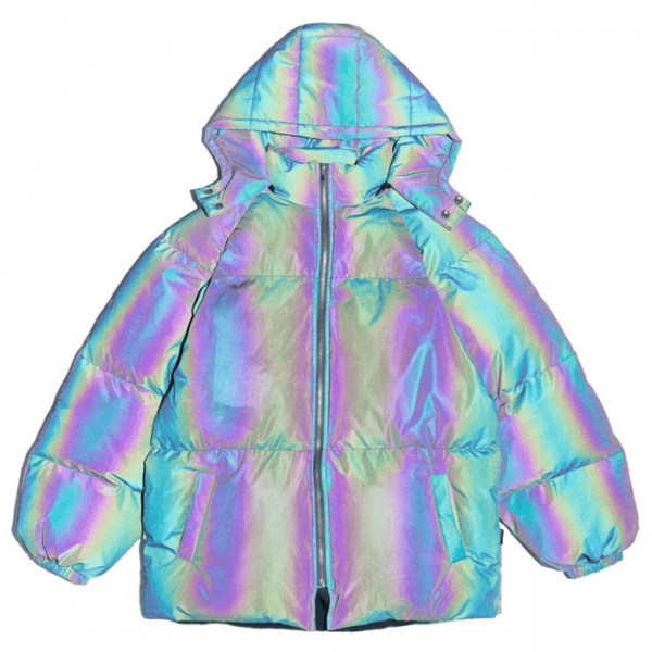Holographic Reflective Merch Puffer Jacket
