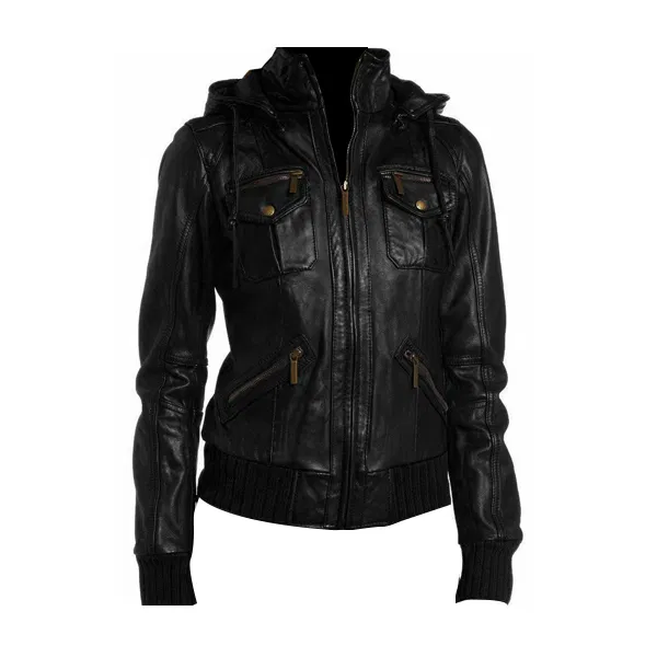 Leather Jacket With Hoodie Women