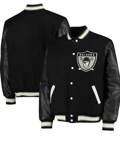 Oakland Raider Blacks Leather Jacket