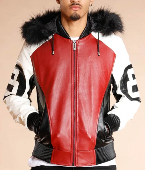 8 Ball Logo Fur Hooded Leather Jacket