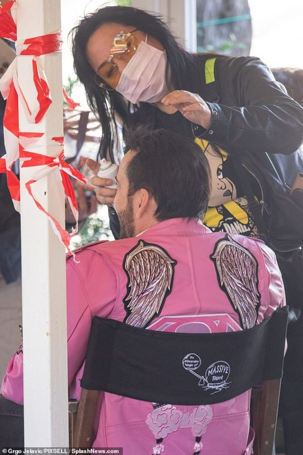 Nicolas Cage Pink angel wings Patch Jacket