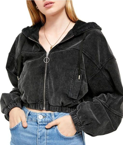 Never Have I Ever Cropped Jacket With Hood