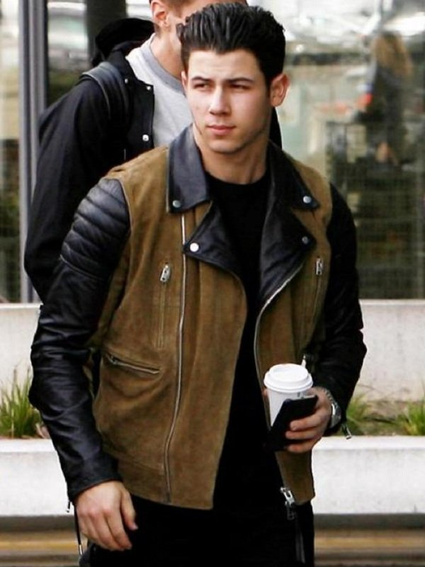 Nick Jonas Suede Leather Jacket