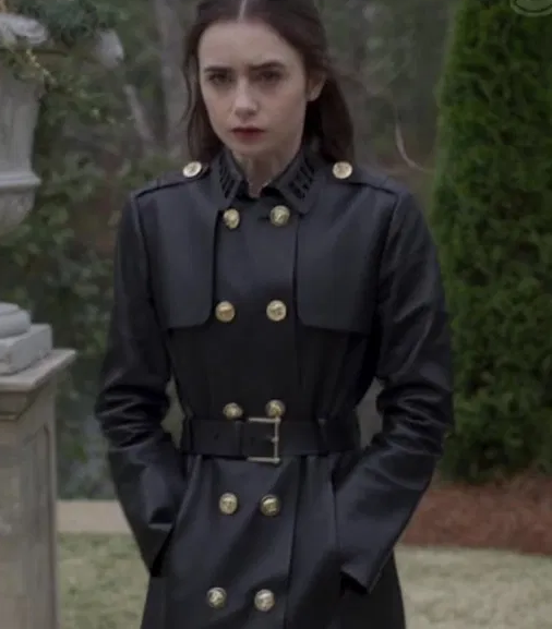 Lily Collins Inheritance Leather Coat
