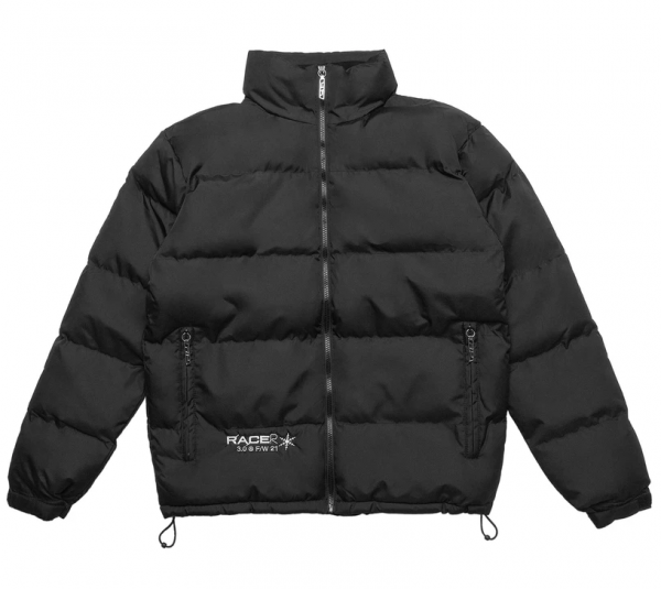Floral Puffa Black Puffer Jacket