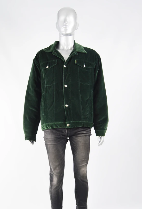 Men's Vintage Dark Green Velvet Jacket